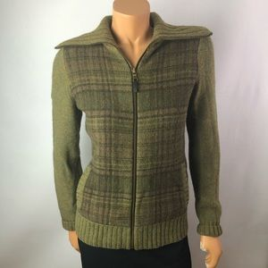 Lauren Jeans woolslamb green zip tartan cardigan M